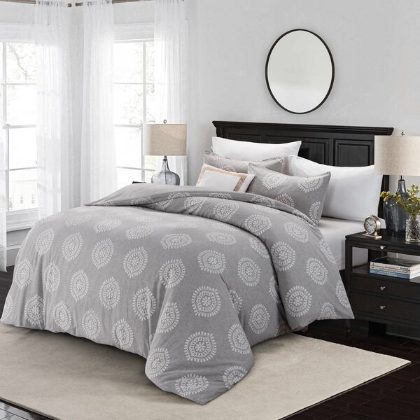 Zeiger Embroidered Linen Blend Duvet Cover Set