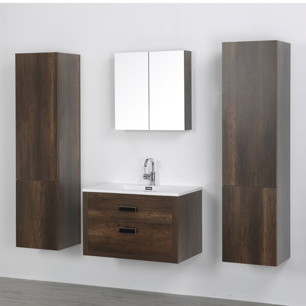 32 Wall-Mounted Single Bathroom Vanity Set with Mirror by Streamline Bath