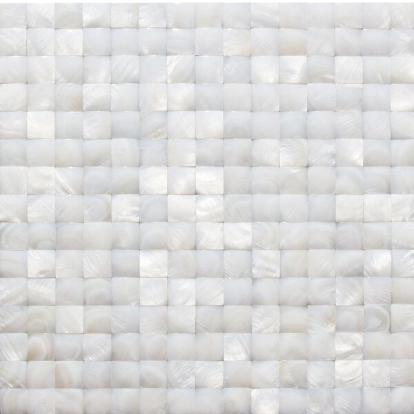 Pacif .79 x .79 Glass Pearl Shell Mosaic Tile in White by Splashback Tile