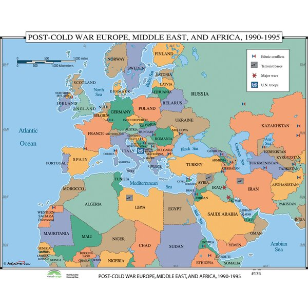 World History Wall Maps - Post Cold War Europe, Middle East & Africa by Universal Map