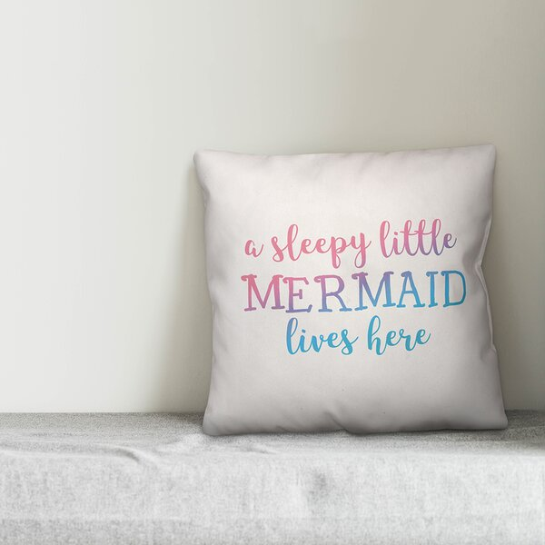 Jarret Sleepy Little Mermaid Throw Pillow by Zoomie Kids