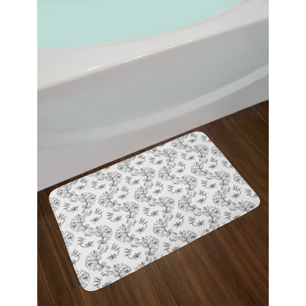 Scroll and Swirls Pattern with Tiny Stems Full of Leaves and Lilies Bath Rug by East Urban Home