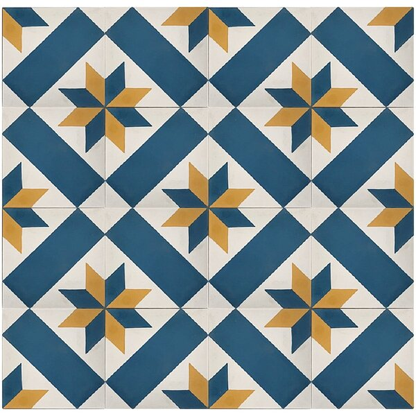 MeaLu Star 8 x 8 Cement Field Tile in Blue/White (Set of 4) by Rustico Tile & Stone