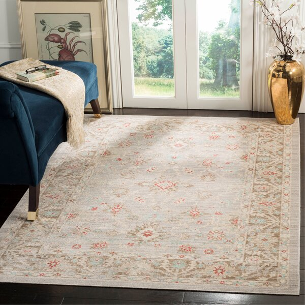 Chauncey Oriental Light Gray Area Rug by Bungalow Rose