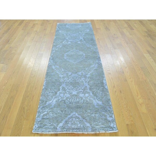 One-of-a-Kind Bean Damask Handwoven Grey Wool/Silk Area Rug by Isabelline