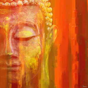 'Buddha' by Parvez Taj Painting Print on Wrapped Canvas by World Menagerie