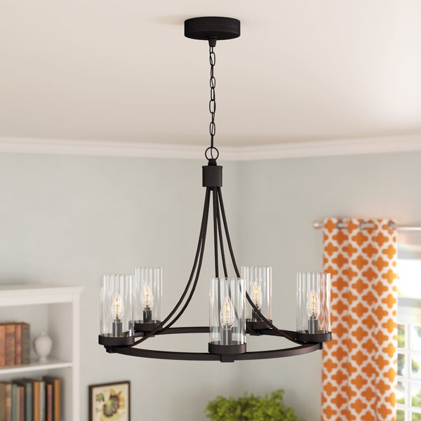 Totnes 5-Light Candle Style Wagon Wheel Chandelier by Charlton Home Charlton Home