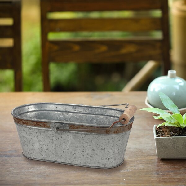 Donna Aged Galvanized Oval Bucket with Rust Trim and Handle by Gracie Oaks
