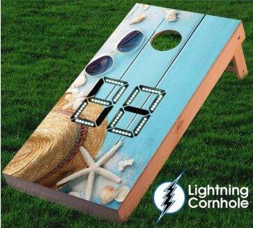 Electronic Scoring Plank and Glasses Cornhole Board by Lightning Cornhole