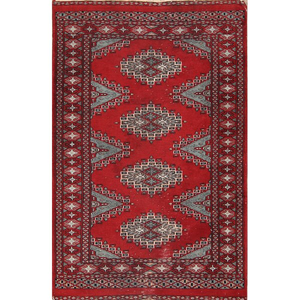 Eres Bokhara Oriental Hand-Knotted Wool Red/Burgundy Area Rug by Bloomsbury Market