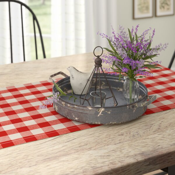Wadlington Round Decorative Iron Tray with Handle by Gracie Oaks