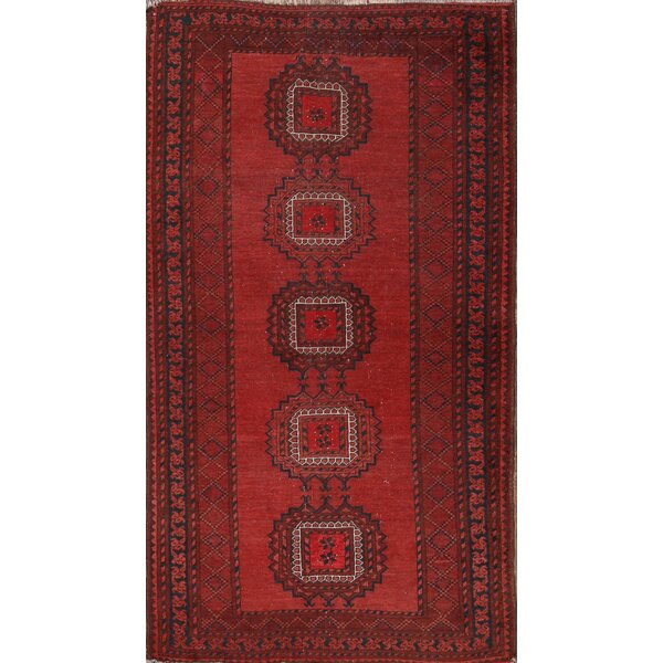 Swift Balouch Afghan Oriental Hand-Knotted Wool Red/Burgundy Area Rug by Bloomsbury Market