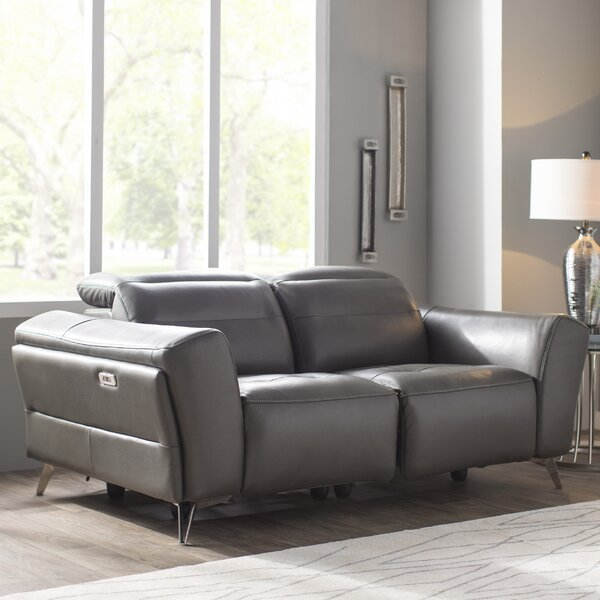 Paille Genuine Leather Reclining 75-inch Flared Arm Loveseat by Orren Ellis Orren Ellis