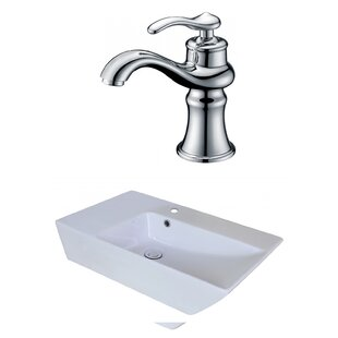 Buy luxury Ceramic Rectangular Vessel Bathroom Sink with Faucet and Overflow ByAmerican Imaginations