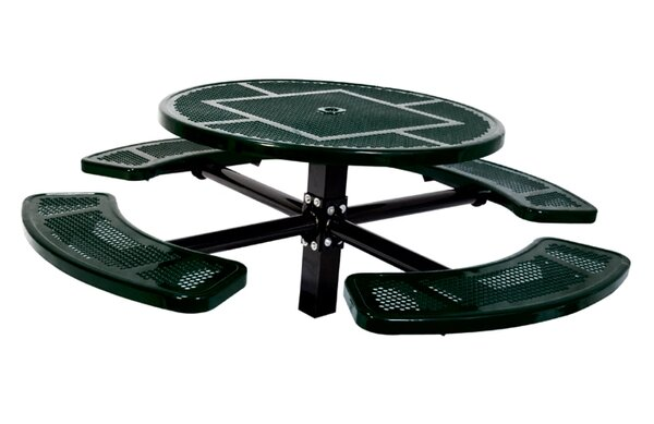 Single Pedestal Inground Round Picnic Table with Perforated Pattern by Ultra Play