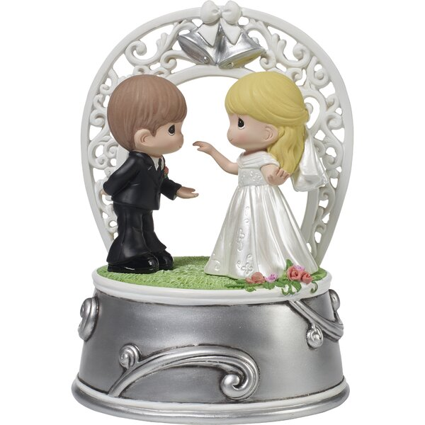 Bride and Groom Dancing Music Box Cake Topper by Precious Moments