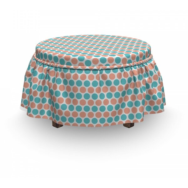 Dots Rows Pastel Tones Ottoman Slipcover (Set Of 2) By East Urban Home