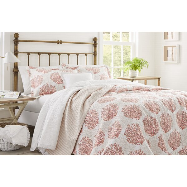 Coral Coast Cotton Reversible Quilt Set by Laura A