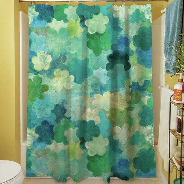 Aqua Bloom Water Blends Shower Curtain by Manual Woodworkers & Weavers