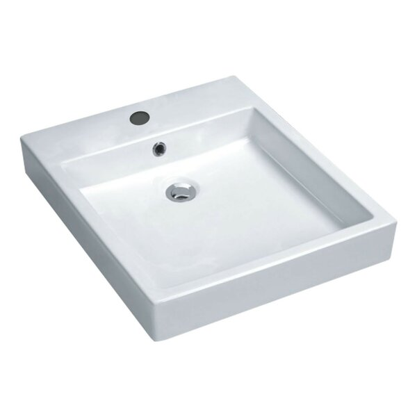 Deux Series Vitreous China Rectangular Vessel Bathroom Sink with Overflow by ANZZI