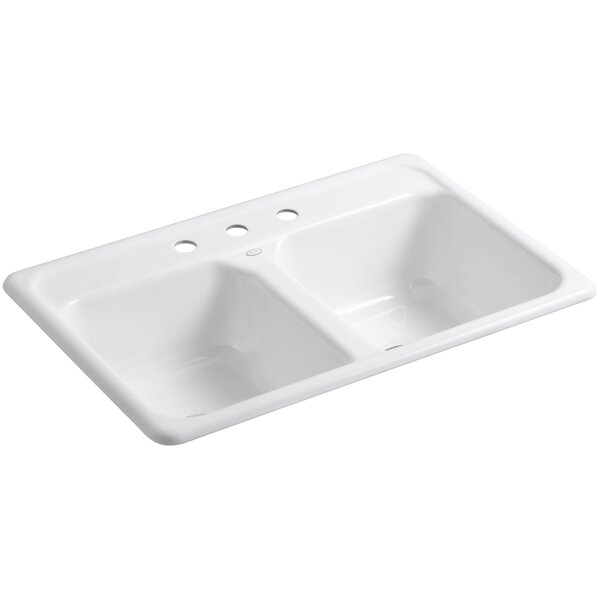 Cape Dory 33 L x 22 W x 8-1/2 Top-Mount Double-Equal Kitchen Sink by Kohler