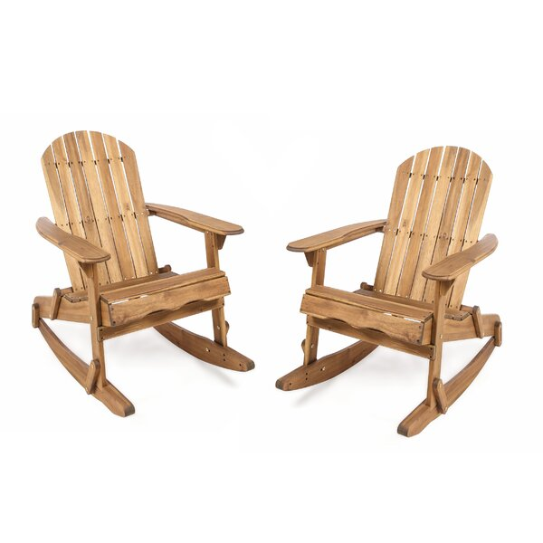 Crossen Solid Wood Rocking Adirondack Chair (Set of 2) by Rosecliff Heights