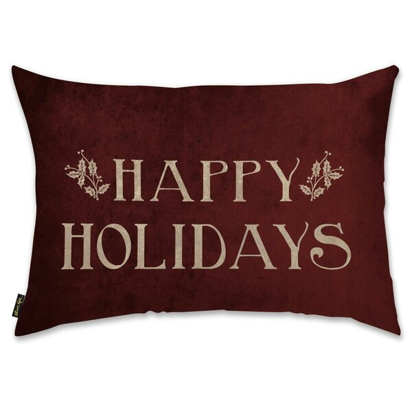 Happy Holidays Lumbar Pillow by The Holiday Aisle