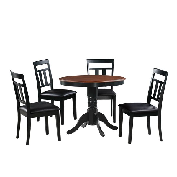 Dahle 5 Piece Solid Wood Dining Set by August Grove