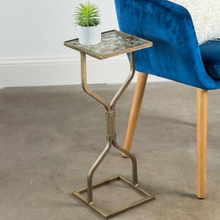 Belcourt Hand-Painted Hourglass Slim Fit Iron End Table by Ivy Bronx