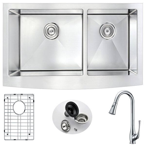 Elysian 36 x 21 Double Bowl Farmhouse Kitchen Sink with Faucet by ANZZI