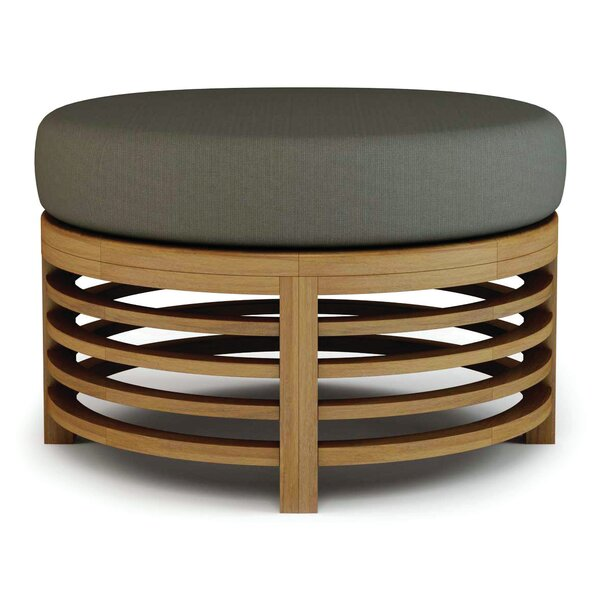 Outdoor Teak Ottoman with Sunbrella Cushion by Seasonal Living