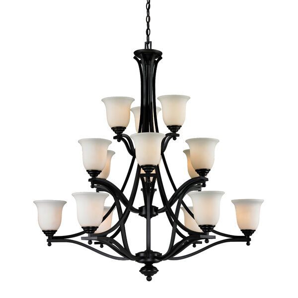 Weyer 15 - Light Shaded Tiered Chandelier By Winston Porter