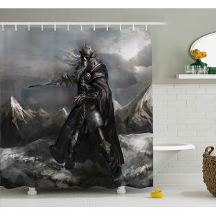 Find Fantasy World Dead Skeleton Soldier Skull War Area Holding Sword Against Enemy Winter Theme Shower Curtain By Ambesonne