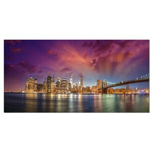 New York Manhattan Skyline with Clouds Cityscape Photographic Print on Wrapped Canvas by Design Art