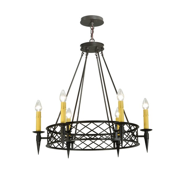 Greenbriar Oak 6-Light Candle Style Wagon Wheel Chandelier by Meyda Tiffany Meyda Tiffany