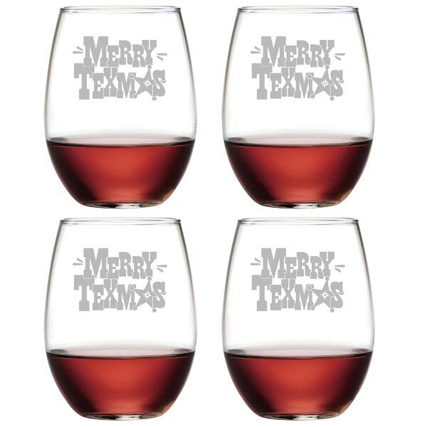 Merry Texmas Glass 21 oz. All Purpose Stemless Wine Glass (Set of 4) by The Holiday Aisle