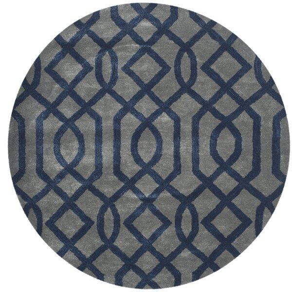 Schaub Hand-Tufted Gray/Dark Blue Area Rug by Wrought Studio