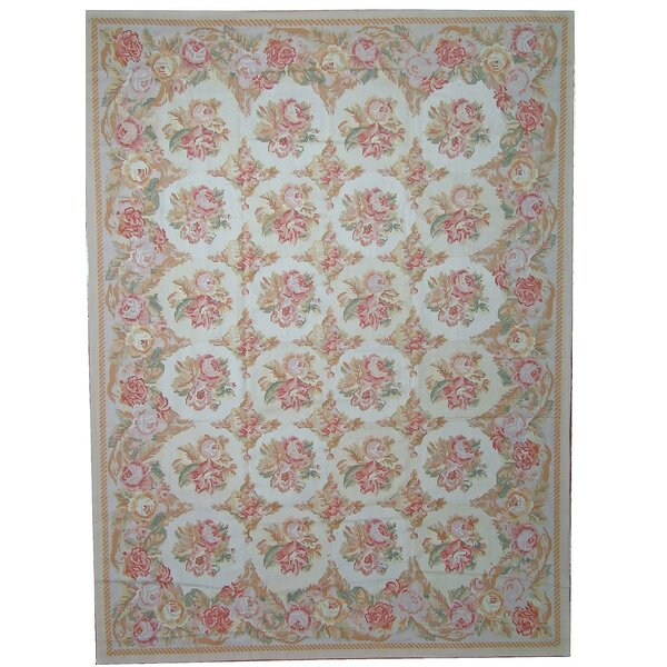 Aubusson Hand-Woven Wool Ivory/Blue/Pink Area Rug by Pasargad
