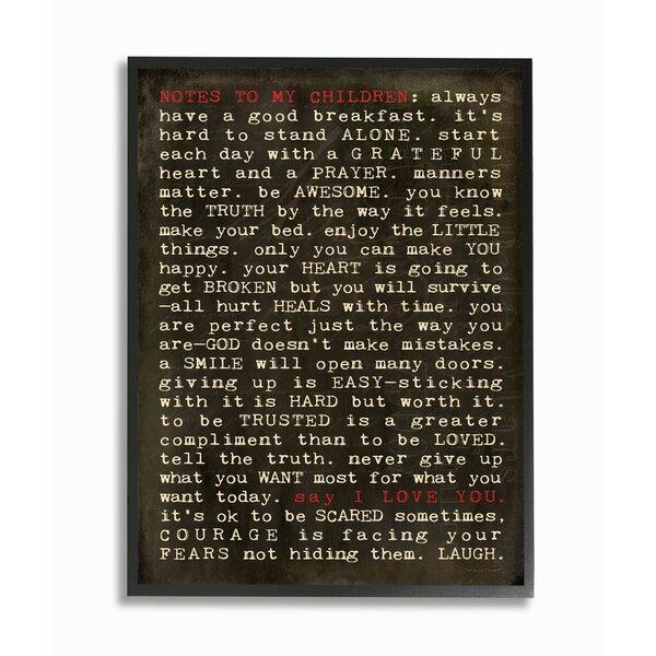 Eliason Notes to My Children Framed Art by Red Barrel Studio