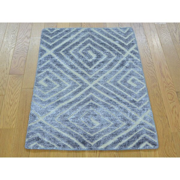 One-of-a-Kind Belwood Hand-Knotted Grey Wool/Silk Area Rug by Isabelline