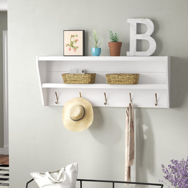 Laurel Foundry Modern Farmhouse Manzanola Floating Entryway Shelf Coat Rack Reviews Wayfair
