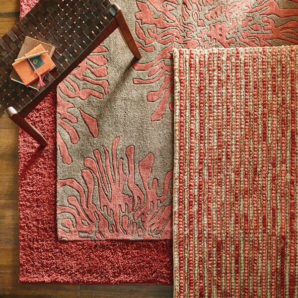 Parson Chocolate/Red Area Rug by Ebern Designs