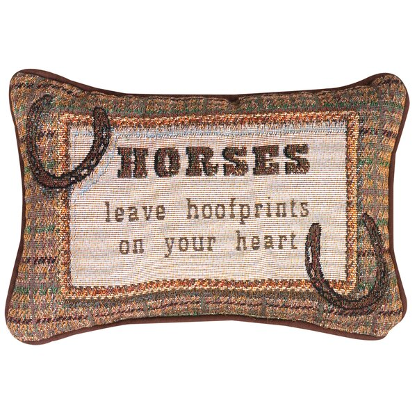 Horses Leave... Heart Word Lumbar Pillow by Manual Woodworkers & Weavers
