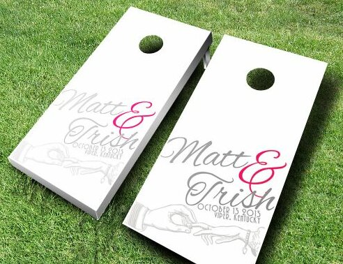 Wedding Hand Cornhole Set by AJJ Cornhole