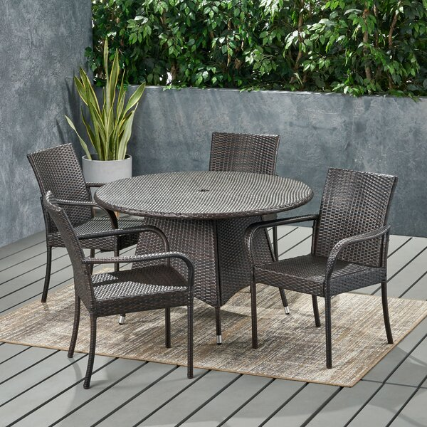 Baley Contemporary 4 Seater Wicker Dining Set by Wrought Studio