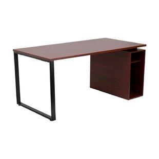 Cady Mahogany Credenza desk with Open Storage Pedestal