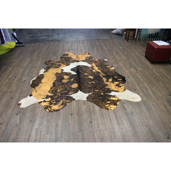 One-of-a-Kind Marshal Hand-Woven Cowhide Rust/Orange Area Rug by Bloomsbury Market