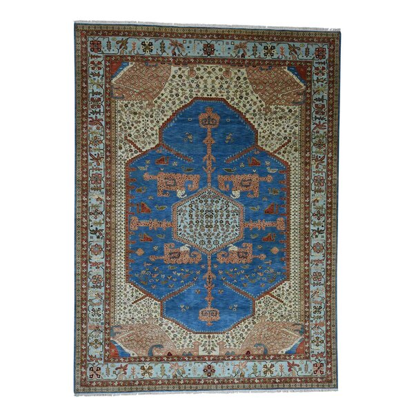 One-of-a-Kind Dunnigan Vegetable Dyes Oriental Hand-Knotted Blue Area Rug by World Menagerie