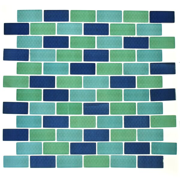 Swimming Pool Series 1 x 2 Glass Mosaic Tile in Blue/Green by WS Tiles