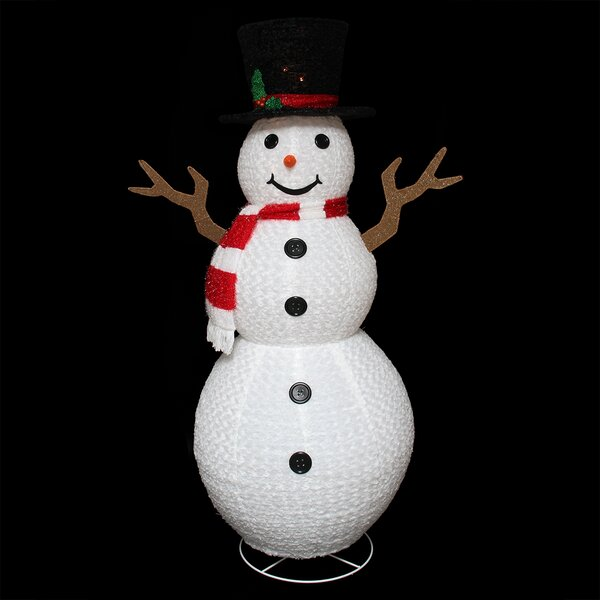 Pre-Lit Outdoor Chenille Swirl Large Snowman Christmas Decoration by Northlight Seasonal